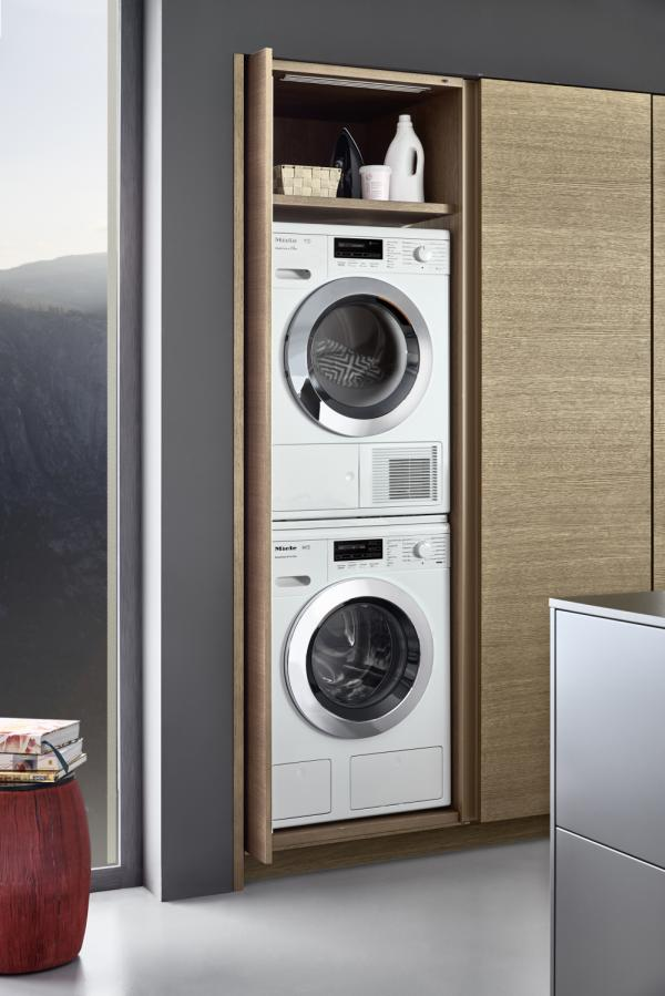 Leicht Topos Space Efficient Integrated Modern Washer Dryer Pantry Kitchen Cabinets New York