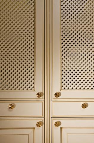 Lattice Pantry Doors Embellished With